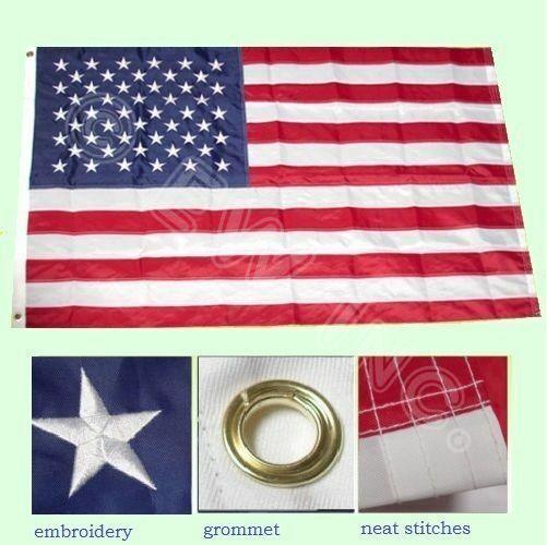 5'x8' FT American Flag USA US U.S. Sewn Stripes Embroidered
