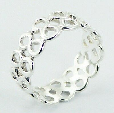 Silver ring band 925 sterling multi infinity love symbol size 7us 8mm wide ring