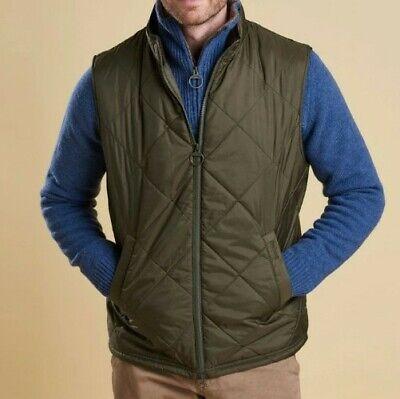 Barbour Men's Finn Gilet Quilted Vest Size M Color Olive