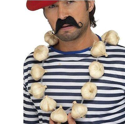 Französisch Man Kostüm Knoblauch Girlande Lebensgröße Frankreich Franzose Neu