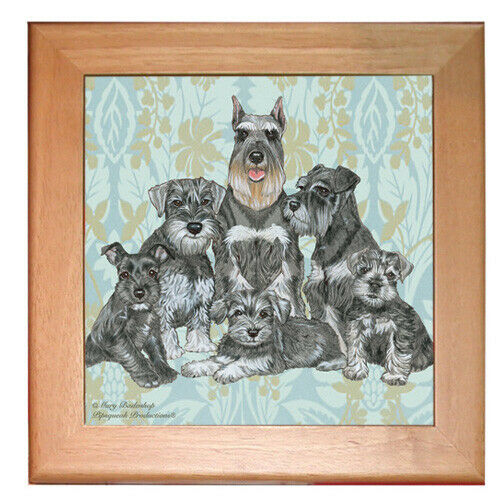 "Schnauzer Miniature Schnauzer Dog Kitchen Ceramic Trivet Framed in Pine 8"" x 8"""