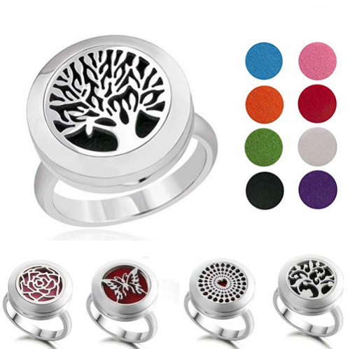 316L Stainless Steel Aromatherapy Locket Ring Essential Oil