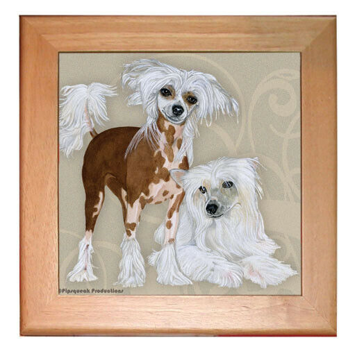 "Chinese Crested Dog Kitchen Ceramic Trivet Framed in Pine 8"" x 8"""