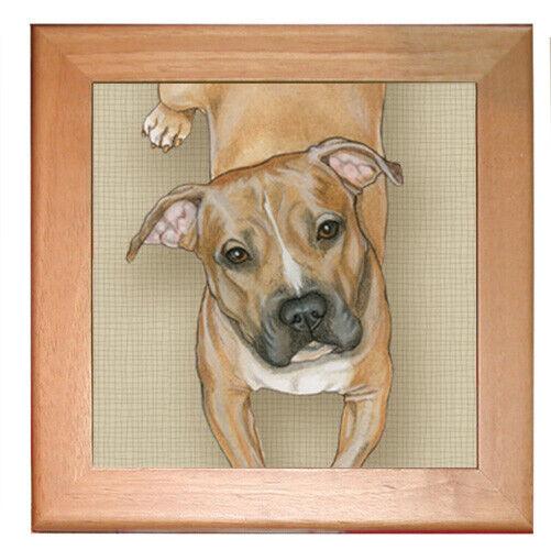 "Pit Bull Dog Kitchen Ceramic Trivet Framed in Pine 8"" x 8"""
