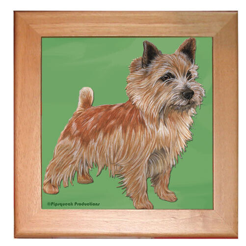 "Norwich Terrier Dog Kitchen Ceramic Trivet Framed in Pine 8"" x 8"""