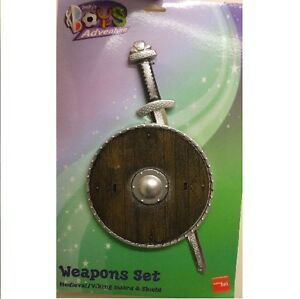 Boys-Knight-Fancy-Dress-2-Piece-Set-Sword-Shield-Crusader-Toy-New-Smiffys