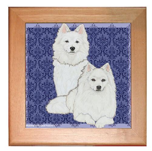 """American Eskimo Eskie Dog Kitchen Ceramic Trivet Framed in Pine 8"""" x 8"""""""