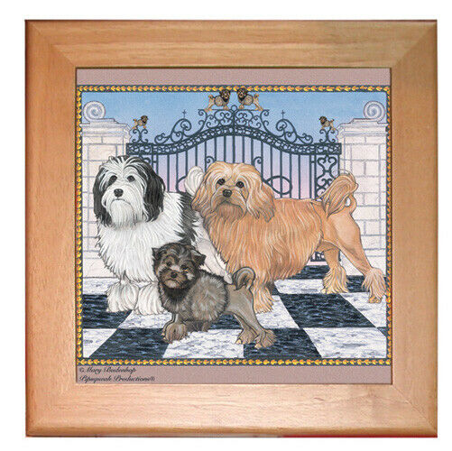 "Lowchen Dog Kitchen Ceramic Trivet Framed in Pine 8"" x 8"""