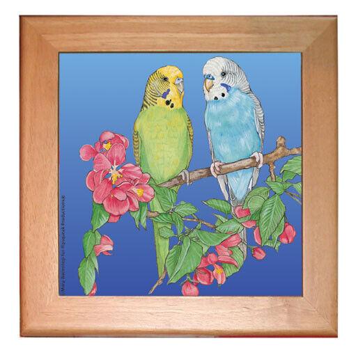 """Parakeet Parrot Kitchen Ceramic Trivet Framed in Pine 8"""" x 8"""""""
