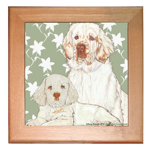 "Clumber Spaniel Dog Kitchen Ceramic Trivet Framed in Pine 8"" x 8"""