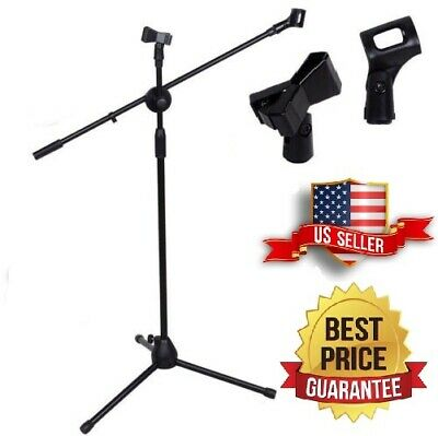 360-degree Rotating Microphone Stand Dual Mic Clip Boom Arm Foldable Tripod