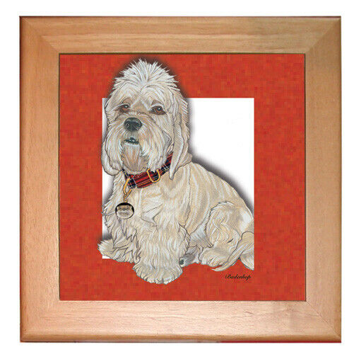"Dandie Dinmont Dog Kitchen Ceramic Trivet Framed in Pine 8"" x 8"""