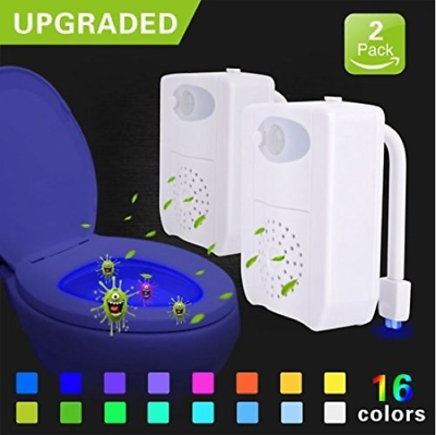 Battery Not Included Upgraded UV Sterilizer Toilet Night Light 16-Color Auto Body Motion Sensor Changing LED Toilet Bowl Night Light with Aromatherapy for Any Toilet Toilet Light DIMICA 1 Pack