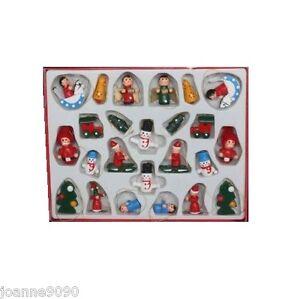GISELA GRAHAM BOX 24 MINI WOODEN TRADITIONAL CHRISTMAS TREE ORNAMENT DECORATIONS