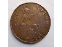 Old Penny Coin King George V 1936