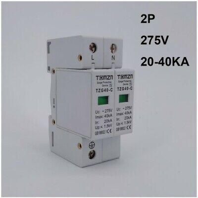AC SPD 2P 20KA~40KA 275V House Surge Protector Low-voltage Arrester Device Low Voltage Mini Housing