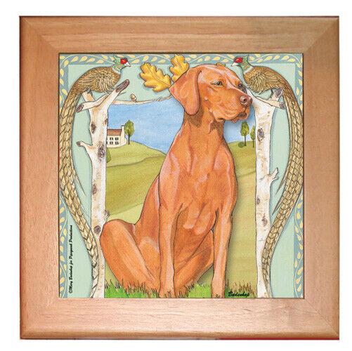 "Vizsla Dog Kitchen Ceramic Trivet Framed in Pine 8"" x 8"""