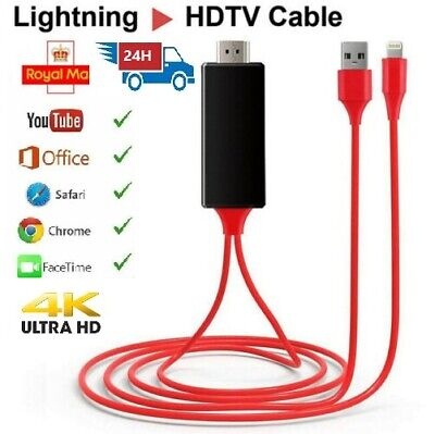 1080P Lightning to HDMI Cable AV To TV Cable HDMI USB Cord For iPhone iPad iOS