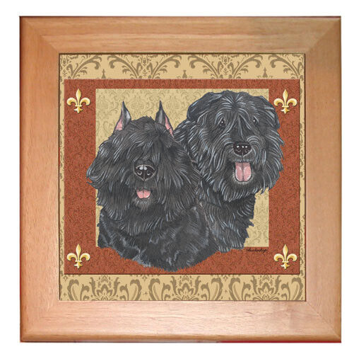 "Bouvier Des Flandres Dog Kitchen Ceramic Trivet Frames in Paine 8"" x 8"""