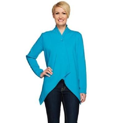 (Denim & Co. Size 2X Summer Teal Wrap Front Cardigan with Single Button Closure)
