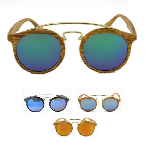 occhiali da sole rotondi effetto legno uomo donna retrò wood specchio surf 2018