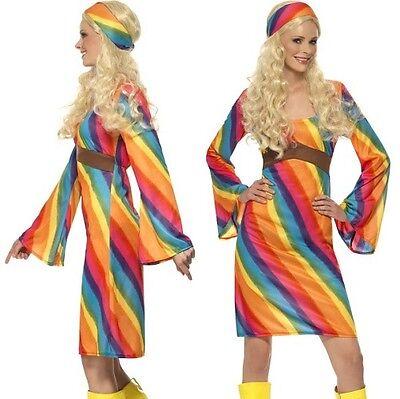 Damen 60er Jahre 1960er Rainbow Hippie Kostüm Hippie-Dame Outfit von - 1960er Hippie Kostüm