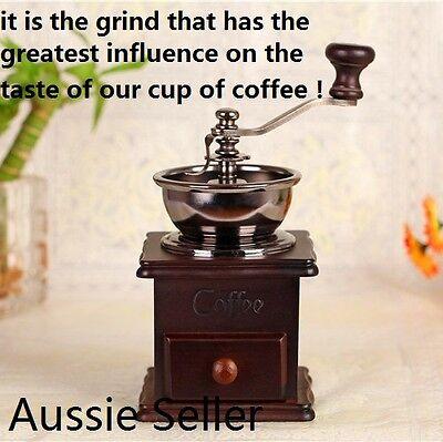 Best Antique Style Manual Coffee Grinder Conical Burr Adjustable Grind