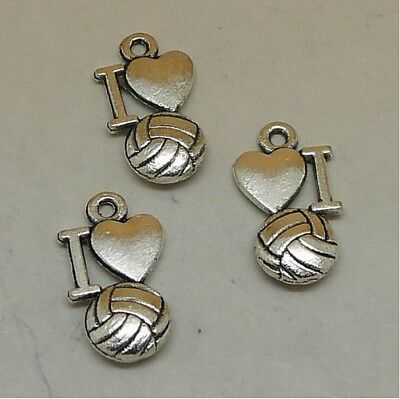 DIY 10pcs I Love volleyball charms Tibetan Silver Pendants Jewelry Findings Gift - I Love Volleyball