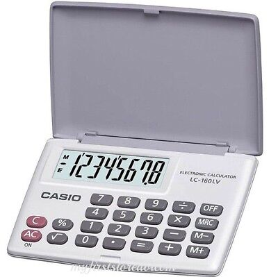New Casio LC-160LV-WE POCKET Electronic Calculator 8-Digit LARGE LCD LC160 WHITE