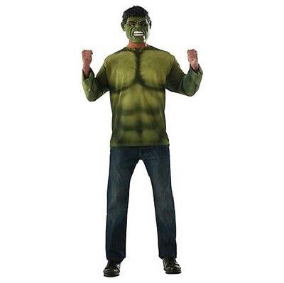 Hulk Erwachsene Kostüm Groß (42-44) T-Shirt & Maske - Hulk Kostüm Shirt
