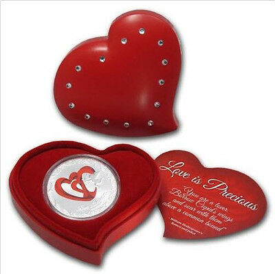 Niue 2013 2$ Love is Precious Red Hearts 1 Oz Silver Coin Valentines Gift