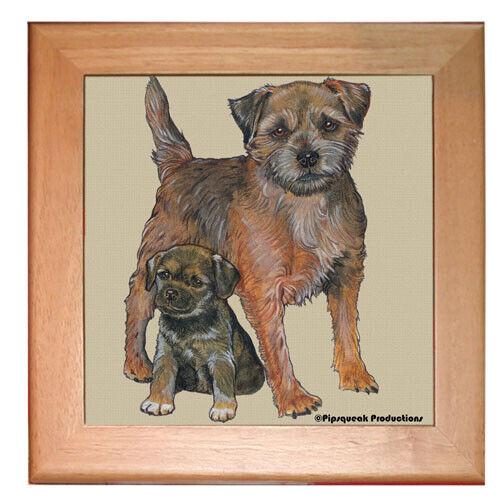 """Border Terrier Dog Kitchen Ceramic Trivet Framed in Pine 8"""" x 8"""""""