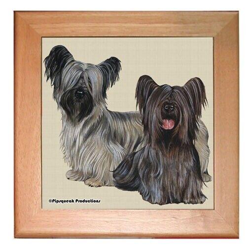 "Skye Terrier Dog Kitchen Ceramic Trivet Framed in Pine 8"" x 8"""