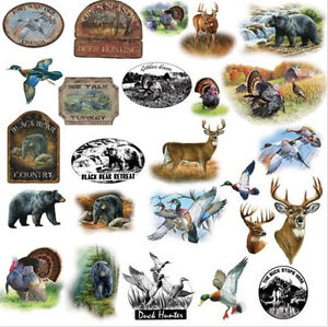 GREAT OUTDOORS wall stickers 25 decals hunting wildlife turkey bear deer signs