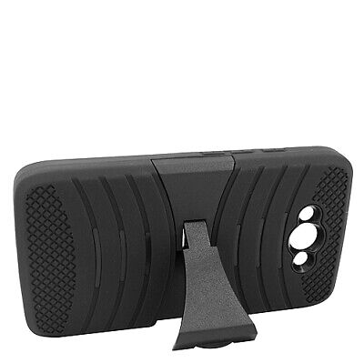 Motorola Droid Turbo XT1254 - HYBRID HEAVY DUTY ARMOR BLACK KICKSTAND CASE COVER