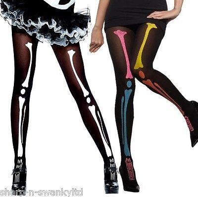 Damen Schwarz Weiß Bunt Skelett Halloween Kostüm Strumpfhose