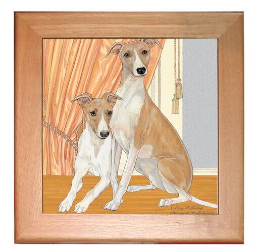 """Whippet Dog Kitchen Ceramic Trivet Framed in Pine 8"""" x 8"""""""