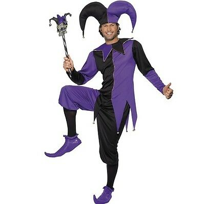 Mens Medieval Jester Fancy Dress Costume Men's Outfit By Smiffys