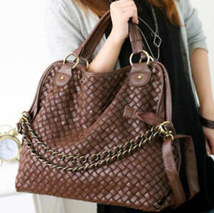 Korean-Style-Lady-Hobo-PU-leather-Handbag-Shoulder-Bag-Brown