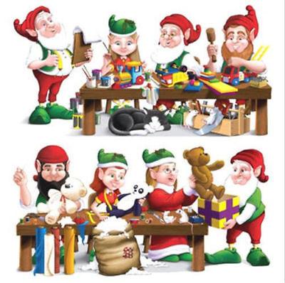 SANTA'S ELVES WORKSHOP Scene Setter Christmas Party wall kit 5' elf toys decor - Elf Santa Scene