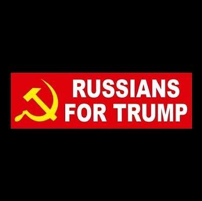 "Funny ""RUSSIANS FOR TRUMP"" Anti Donald Trump BUMPER STICKER, window decal, Putin"