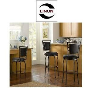 NEW 3PC LINON ADJUSTABLE STOOL SET - 108975263 - TOWNSEND 360 DEGREE SWIVEL SEAT - 16''H x 18''W x 44.75''D