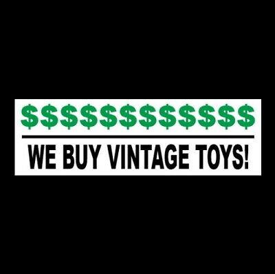 We Buy Vintage Toys Business Sticker Sign Store Metal Wind-up Play Set Tin Old