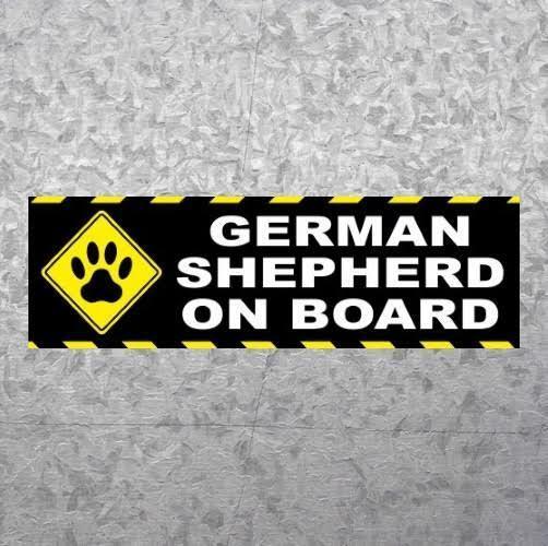 """GERMAN SHEPHERD ON BOARD"" police dog BUMPER STICKER decal puppy K9 warning sign"