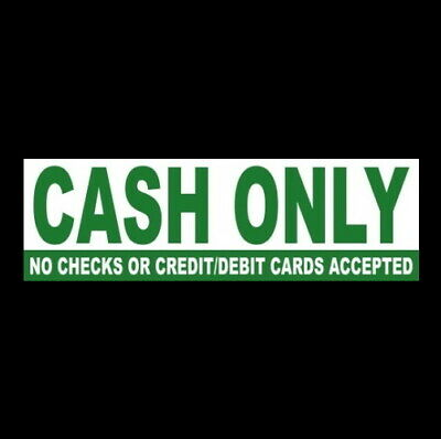 Cash Only - No Checks Credit Debit Cards Business Sticker Sign Store Retail