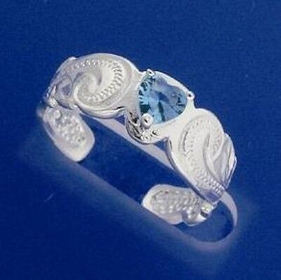 Hawaiian 925 Sterling Silver Scrolling Cut Out Blue Heart CZ Toe Ring # TR1153