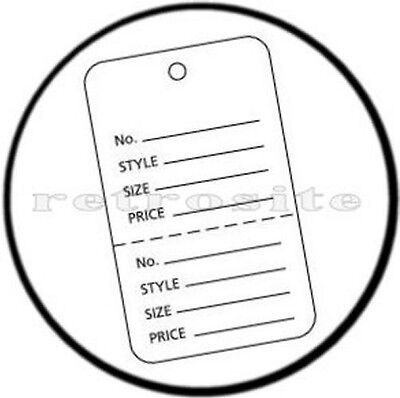 1000 Large Coupon Price Tags With Strings White 2 - Part Perforated Strung