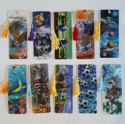 3 D Realistic Lenticular Bookmarks with Tassel Assorted 10 Pack