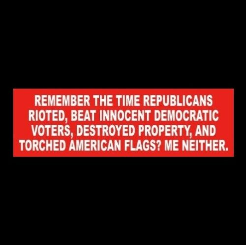 """""""REMEMBER THE TIME REPUBLICANS TORCHED AMERICAN FLAGS"""" Anti Liberal STICKER maga"""