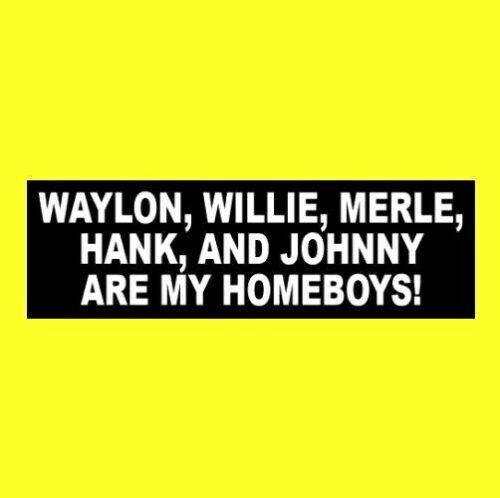 "Funny ""WAYLON JENNINGS, WILLIE NELSON, MERLE HAGGARD, JOHNNY CASH, HANK"" sticker"